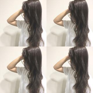波ウェーブ 外国人風 ロング 暗髪 ヘアスタイルや髪型の写真・画像 ヘアスタイルや髪型の写真・画像