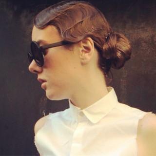 外国人風 ロング ウェットヘア ウェーブ ヘアスタイルや髪型の写真・画像