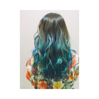 ハイトーン ストリート グラデーションカラー セミロング ヘアスタイルや髪型の写真・画像