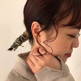 バイオレット チェリーピンク ピンクバイオレット ヘアアレンジ ヘアスタイルや髪型の写真・画像