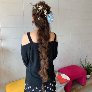 ヘアアレンジ フェミニン 編みおろし 編みおろしヘア ヘアスタイルや髪型の写真・画像