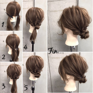 セミロング 簡単ヘアアレンジ 女子会 リラックス ヘアスタイルや髪型の写真・画像
