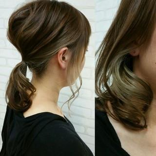 簡単ヘアアレンジ 暗髪 ストリート セミロング ヘアスタイルや髪型の写真・画像