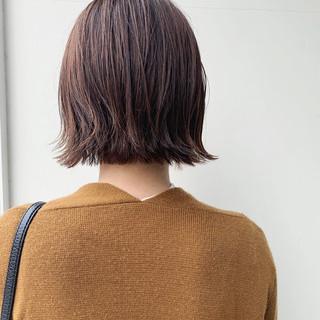 外ハネボブ ナチュラル アプリコットオレンジ ミニボブ ヘアスタイルや髪型の写真・画像 ヘアスタイルや髪型の写真・画像