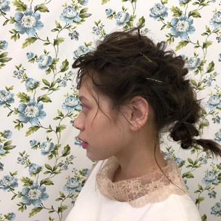 ガーリー 簡単ヘアアレンジ ミディアム デート ヘアスタイルや髪型の写真・画像