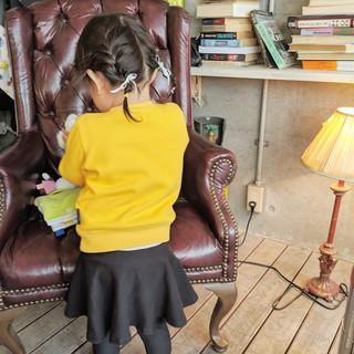 リボンアレンジ キッズカット ボブ ガーリー ヘアスタイルや髪型の写真・画像