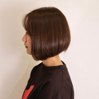 ブラウン ミニボブ ショートボブ ボブ ヘアスタイルや髪型の写真・画像