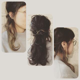 黒髪 外国人風 ストリート ハイライト ヘアスタイルや髪型の写真・画像