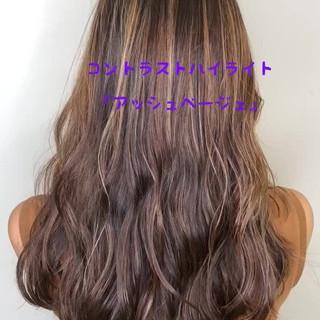 透明感カラー ロング コントラストハイライト ハイライト ヘアスタイルや髪型の写真・画像