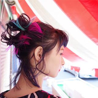 ハイライト ハーフアップ ポニーテール ヘアアレンジ ヘアスタイルや髪型の写真・画像