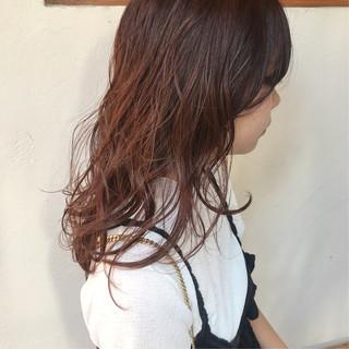 ミディアム オレンジカラー オレンジ アプリコットオレンジ ヘアスタイルや髪型の写真・画像