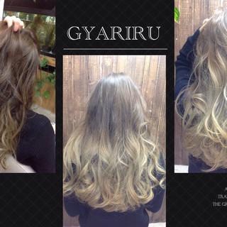 アッシュ ガーリー ロング ブリーチ ヘアスタイルや髪型の写真・画像