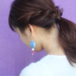 大人かわいい ミディアム ヘアアレンジ 簡単ヘアアレンジ ヘアスタイルや髪型の写真・画像