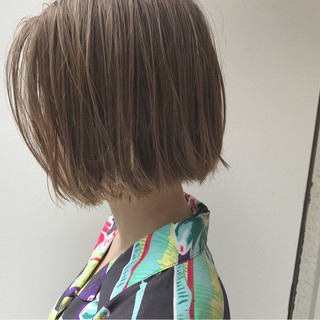 ナチュラル ハイライト ボブ 秋 ヘアスタイルや髪型の写真・画像