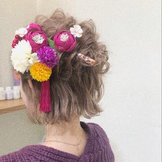 ガーリー ヘアアレンジ 結婚式 成人式 ヘアスタイルや髪型の写真・画像