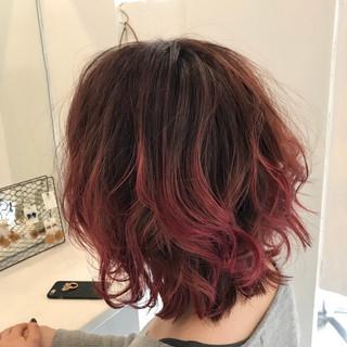 ボブ ストリート ピンク グラデーションカラー ヘアスタイルや髪型の写真・画像