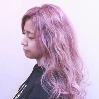 グラデーションカラー ロング ピンク ストリート ヘアスタイルや髪型の写真・画像