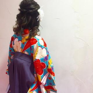ガーリー 袴 学校 謝恩会 ヘアスタイルや髪型の写真・画像