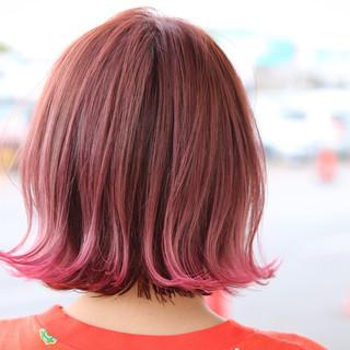 ボブ グラデーションカラー 外国人風 ガーリー ヘアスタイルや髪型の写真・画像