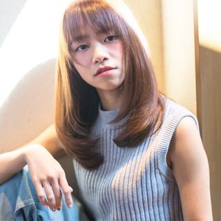 大人かわいい ストレート ナチュラル セミロング ヘアスタイルや髪型の写真・画像