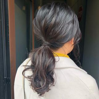 ヘアアレンジ ポニーテール ローポニーテール セミロング ヘアスタイルや髪型の写真・画像 ヘアスタイルや髪型の写真・画像