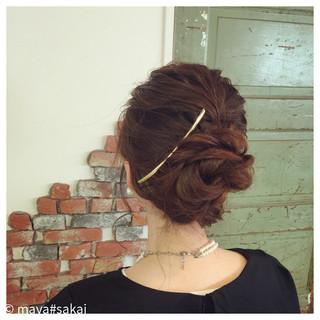 お団子 簡単ヘアアレンジ ゆるふわ ミディアム ヘアスタイルや髪型の写真・画像