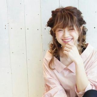 ガーリー セミロング ルーズ ヘアアレンジ ヘアスタイルや髪型の写真・画像