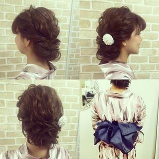 夏 大人かわいい 着物 ロング ヘアスタイルや髪型の写真・画像
