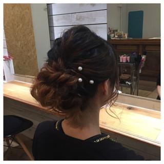 パーティ ミディアム アップスタイル 編み込み ヘアスタイルや髪型の写真・画像