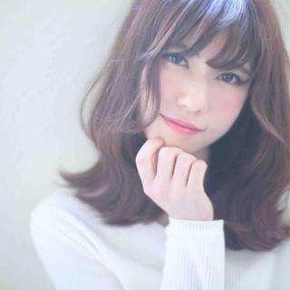 大人かわいい セミロング ガーリー 春 ヘアスタイルや髪型の写真・画像