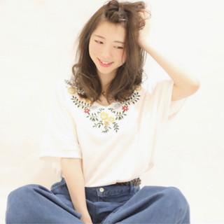 ヘアアレンジ 外国人風カラー グレージュ ミディアム ヘアスタイルや髪型の写真・画像