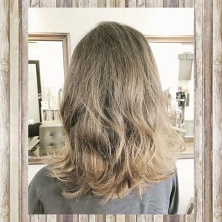 透明感 グラデーションカラー ナチュラル ミディアム ヘアスタイルや髪型の写真・画像