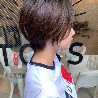 ゆるふわ ショートヘア デート オフィス ヘアスタイルや髪型の写真・画像