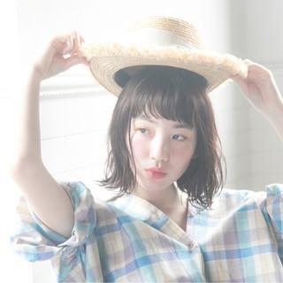 涼しげ フェミニン ボブ ヘアアレンジ ヘアスタイルや髪型の写真・画像 ヘアスタイルや髪型の写真・画像