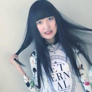 黒髪 ロング 前髪パッツン ヘアスタイルや髪型の写真・画像