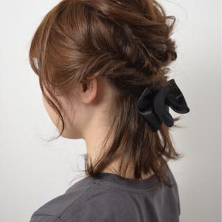 ショート ヘアアレンジ ストリート ブラウン ヘアスタイルや髪型の写真・画像