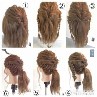 くるりんぱ ポニーテール セミロング 三つ編み ヘアスタイルや髪型の写真・画像