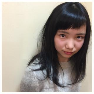 黒髪 オン眉 斜め前髪 ロング ヘアスタイルや髪型の写真・画像