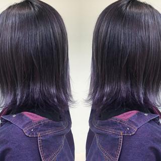 ブリーチ ボブ グラデーションカラー パープル ヘアスタイルや髪型の写真・画像