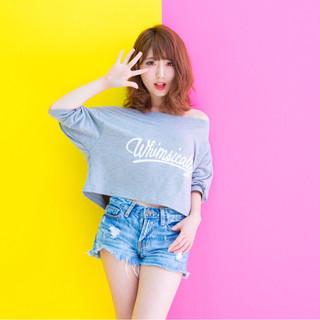 渋谷系 外国人風 フェミニン ミディアム ヘアスタイルや髪型の写真・画像