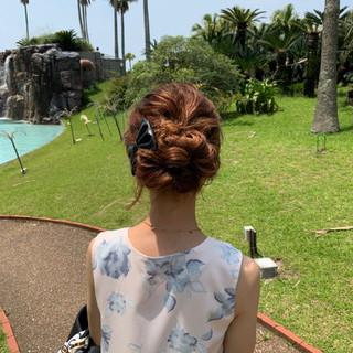 ヘアアレンジ ナチュラル セミロング 簡単ヘアアレンジ ヘアスタイルや髪型の写真・画像