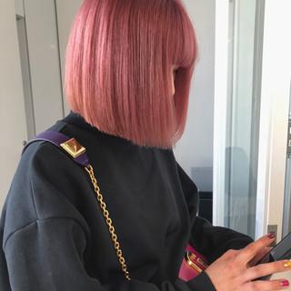 ロング デート ピンクカラー ピンクベージュ ヘアスタイルや髪型の写真・画像