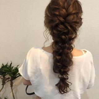 編みおろしヘア 結婚式 ロング ヘアセット ヘアスタイルや髪型の写真・画像