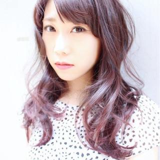 ラベンダー ピンク パープル ロング ヘアスタイルや髪型の写真・画像