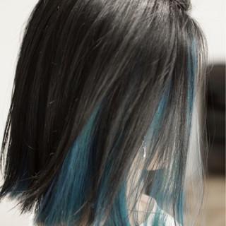 ダブルカラー ボブ インナーカラー モード ヘアスタイルや髪型の写真・画像