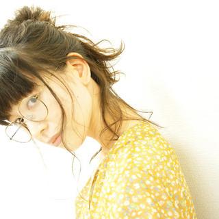 ショート 簡単ヘアアレンジ 暗髪 ゆるふわ ヘアスタイルや髪型の写真・画像
