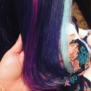 ストリート ブルー メッシュ 外国人風カラー ヘアスタイルや髪型の写真・画像