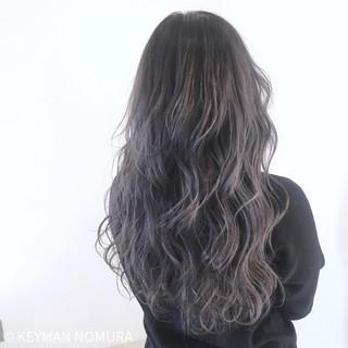 大人女子 黒髪 ロング ネイビー ヘアスタイルや髪型の写真・画像