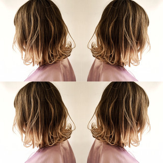 リラックス ハイライト ボブ 色気 ヘアスタイルや髪型の写真・画像