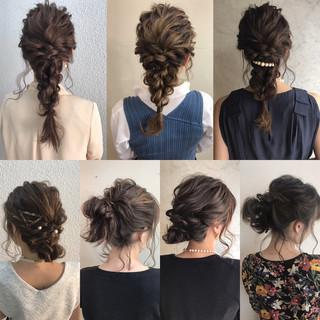 ヘアアレンジ セミロング 結婚式 上品 ヘアスタイルや髪型の写真・画像